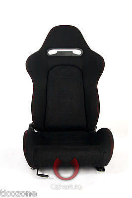 Black Cloth w/ Microsuede Insert & Red Stitch Cipher Auto Racing Seats 1019-Pair