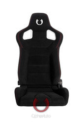 Cipher Euro Racing Seats Black Cloth & Carbon Fiber PVC w/ Red Stitching Pair