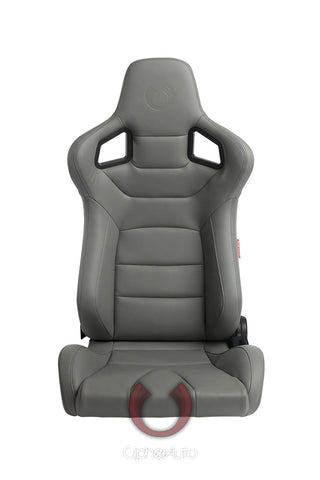 Cipher Euro Racing Seats Gray Leatherette Carbon Fiber w/ Dark Grey Stitching - Pair