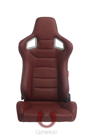 Cipher Euro Racing Seats Maroon Leatherette Carbon Fiber w/ Black Stitching-Pair