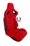Cipher AR-9 Revo Racing Seats Red Suede & Fabric w/ Carbon Fiber Poly Back-Pair