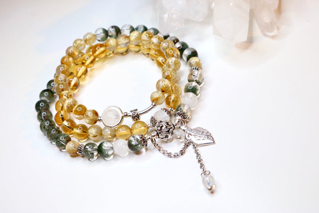 CatstoneNYC Customized Gemstone - Citrine and Green Phantom Bracelet and Necklace - Catstone NYC