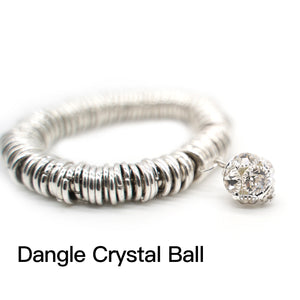 CatstoneNYC Dangle Crystal Ball Charm Stainless Steel Bracelet - Catstone NYC