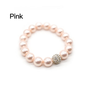 CatstoneNYC Pink Gemstone 8mm Round Beads Stretch Bracelet with Shinny Crystal Ball, Adjustable Bracelet for Women