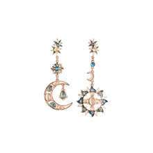 Load image into Gallery viewer, CatstoneNYC Gold Plated Dangling Crescent Moon and Sun Long Stud Earrings - Catstone NYC