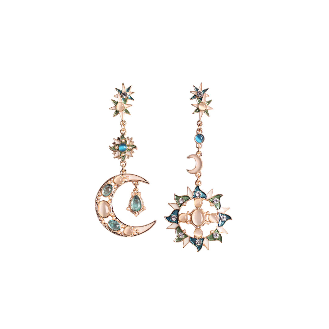 CatstoneNYC Gold Plated Dangling Crescent Moon and Sun Long Stud Earrings - Catstone NYC