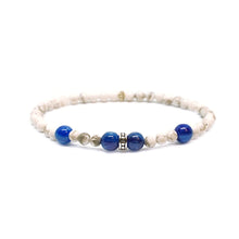 Load image into Gallery viewer, CatstoneNYC September Birthstone White Turquoise and Sapphire Bracelet - Catstone NYC