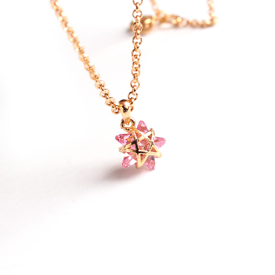 CatstoneNYC Chic Style Gold Plated Pink Crystal Star Pendant Necklace, Delicate Mini Charm Great for Women and Girls, Gift, Birthday, Anniversary - Catstone NYC