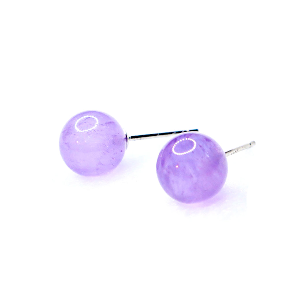 CatstoneNYC Amethyst Crystal Stud Earrings for Women, 8mm - Catstone NYC