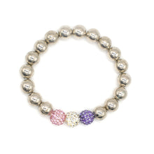 Load image into Gallery viewer, CatstoneNYC Three Colored Beaded Charm Stainless Steel Bracelet