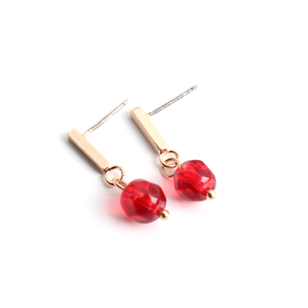 CatstoneNYC Chic Style Gold Plated Brass Red Bead Stud Earrings, Great for Women and Girls, Gift, Birthday, Anniversary - Catstone NYC