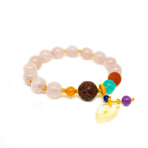 CatstoneNYC Pig Year Collection Rose Quartz Crystal Gemstone Bracelet - Catstone NYC