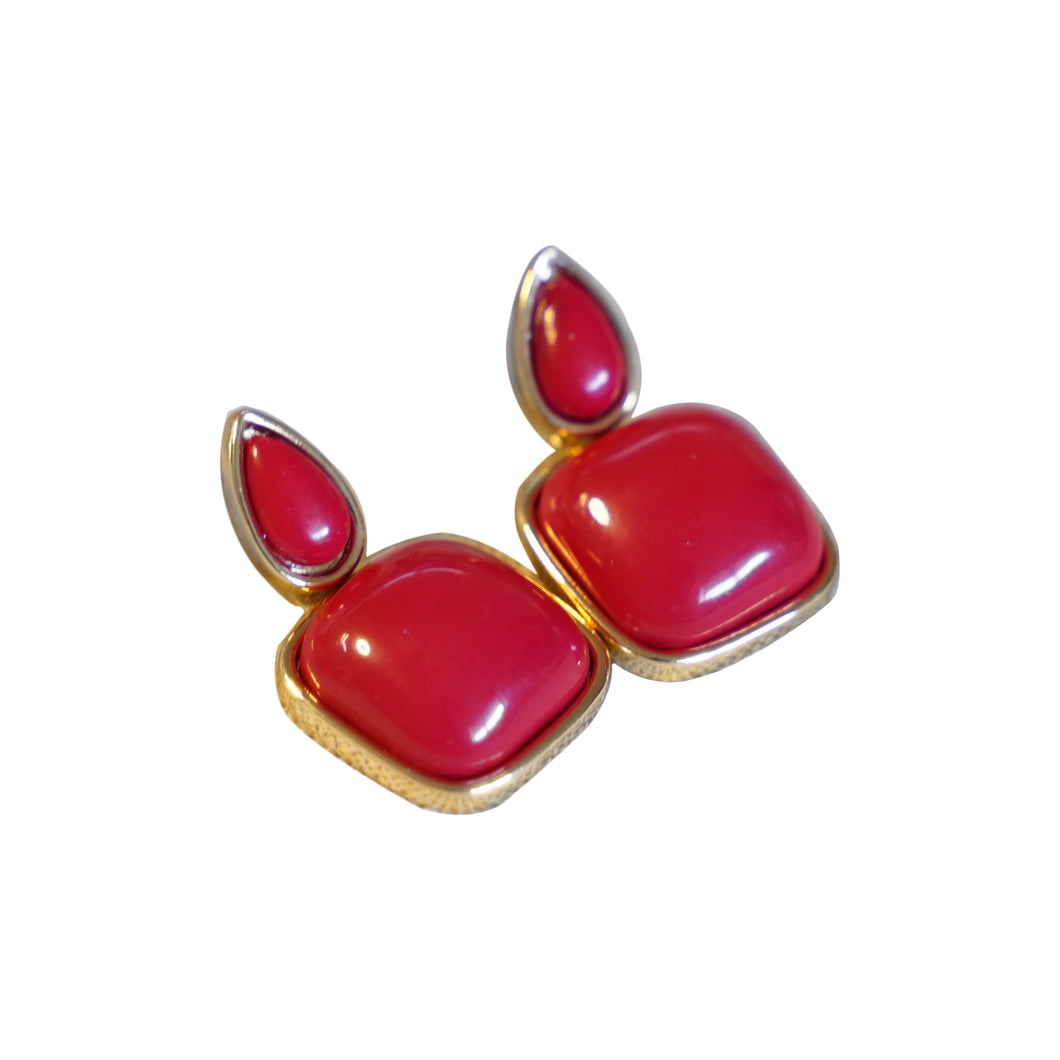 Gold Plated Red Square Fashion Earrings - Catstone NYC