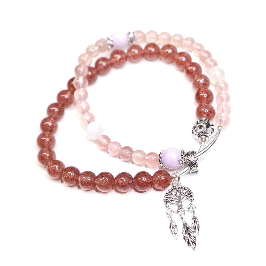 Customized - Rose Quartz Crystal Beaded Bracelet - Catstone NYC