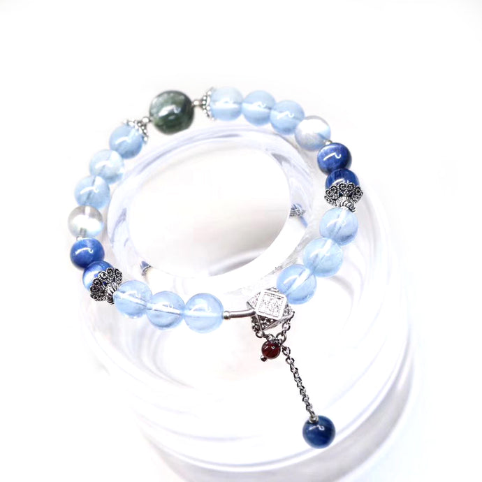 Customized - Blue Aventurine Crystal Beaded Bracelet - Catstone NYC