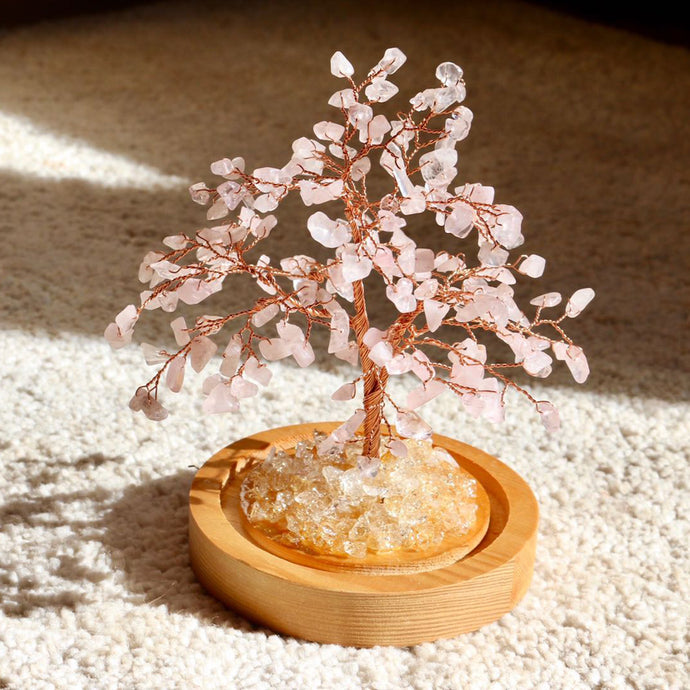 Rose Quart Bonsai Tree with Natural Crystals - Catstone NYC