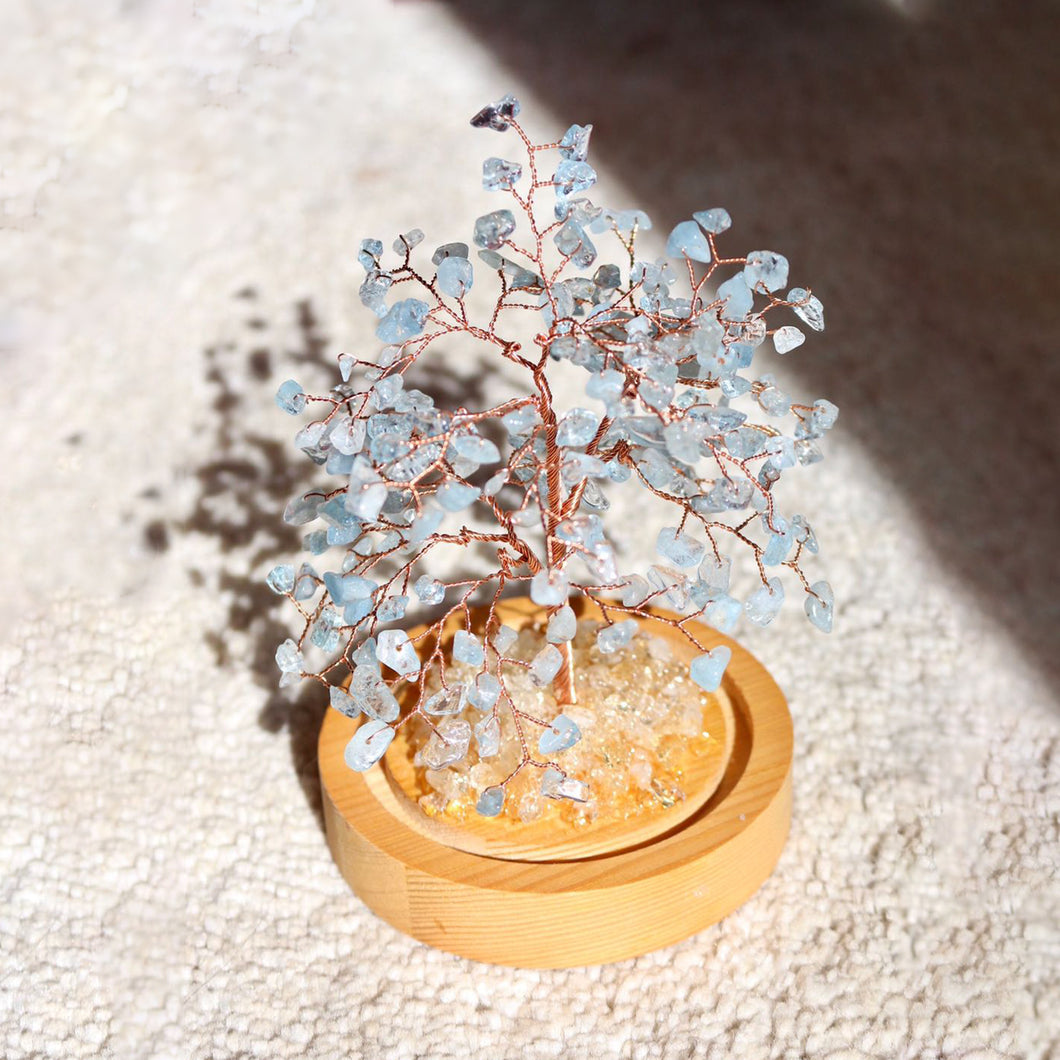 Blue Topaz Bonsai Tree with Natural Crystals - Catstone NYC