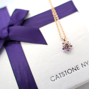 CatstoneNYC Chic Style Gold Plated Purple Crystal Star Pendant Necklace, Delicate Mini Charm Great for Women and Girls, Gift, Birthday, Anniversary - Catstone NYC