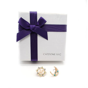 CatstoneNYC Gold-Plated  Crescent Moon and Sun Long Stud Earrings, for Anniversary, Gift and  Birthday - Catstone NYC