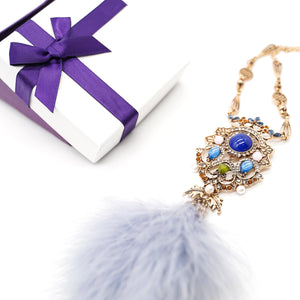 CatstoneNYC Gold-Plated Dangling Crystal Pendant with Fluffy Feather Necklace, Great for Birthday, Anniversary, and Gift - Catstone NYC