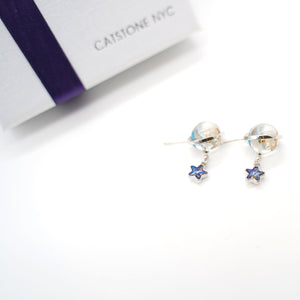 CatstoneNYC Chic Style Silver Plated Galaxy Design with Blue Dangling Stars Stud Earrings, Great for Women and Girls, Gift, Birthday, Anniversary - Catstone NYC