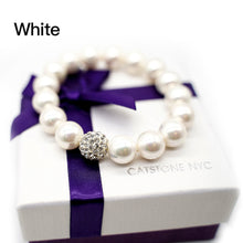 Load image into Gallery viewer, CatstoneNYC White Round Beads Stretch Bracelet - Catstone NYC