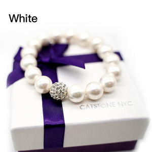 CatstoneNYC White Gemstone Round Beads Stretch Bracelet with Shinny Crystal Ball, 8mm, Adjustable Bracelet for Women