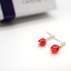 CatstoneNYC Gold Plated Brass Red Bead Stud Earrings - Catstone NYC