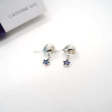 Load image into Gallery viewer, CatstoneNYC Chic Style Silver Plated Galaxy Design with Blue Dangling Stars Stud Earrings, Great for Women and Girls, Gift, Birthday, Anniversary - Catstone NYC