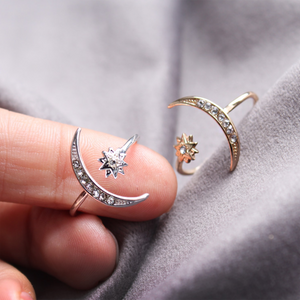 CatstoneNYC Silver Crescent Moon and Star Ring, Adjustable - Catstone NYC