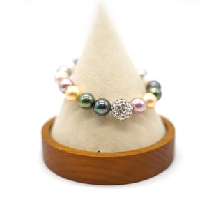 CatstoneNYC Color Bead Gemstone (8mm)  Stretch Bracelet with Shinny Crystal Ball, Adjustable Bracelet for Women