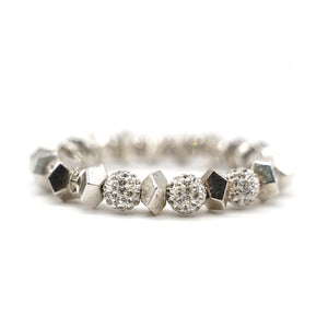 CatstoneNYC Shining Crystal Round Bead Stainless Steel Bracelet