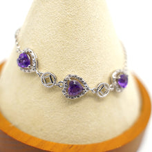 Load image into Gallery viewer, CatstoneNYC Silver Heart Shape Amethyst Crystal Bracelet - Catstone NYC