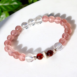 CatstoneNYC July Birthstone Strawberry Quartz Bracelet for Women - Catstone NYC