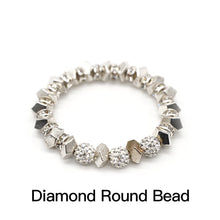 Load image into Gallery viewer, CatstoneNYC Shining Crystal Round Bead Stainless Steel Bracelet