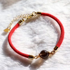 "CatstoneNYC ""Good Fortune"" Black Onyx Red Bracelet - Catstone NYC"