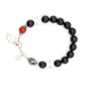 CatstoneNYC Dangling Clover and Black Onyx Protection Bracelet - Catstone NYC