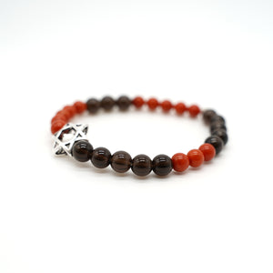 "CatstoneNYC ""Year of the Pig"" Protection and Good Luck, Black Onyx And Red Agate Crystal Bracelet, For Men and Women, 8mm - Catstone NYC"