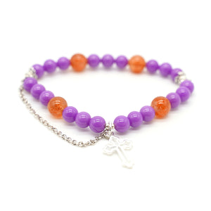 "CatstoneNYC ""Healing Energy Blast"" Red Agate and Purple Crystal Bracelet with Dangling Silver-Plated Cross, 8mm, Adjustable, For Women, Study, Career - Catstone NYC"