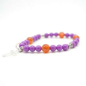 CatstoneNYC Red Agate and Purple Crystal Healing Bracelet - Catstone NYC