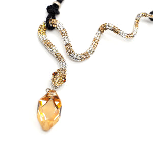 CatstoneNYC Citrine Crystal Snake Pendant Necklace for Women - Catstone NYC