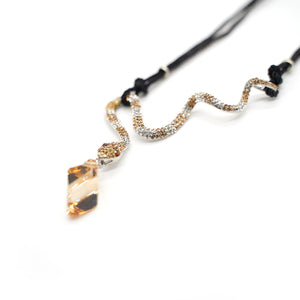 CatstoneNYC Citrine Crystal Snake Pendant Necklace for Women