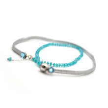 Load image into Gallery viewer, CatstoneNYC Aquamarine Crystal Silver Faux Leather Wrap Bracelet, Unisex - Catstone NYC