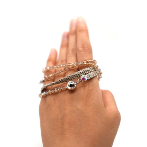 CatstoneNYC Brown Beaded Crystal Wrap Bracelet for Women and Men