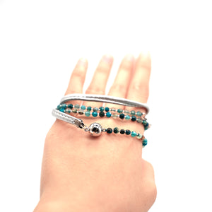 CatstoneNYC Blue Beaded Crystal Wrap Bracelet for Women and Men - Catstone NYC