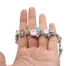 Load image into Gallery viewer, Pink and Blue Crystal Silver Bracelet - Catstone NYC