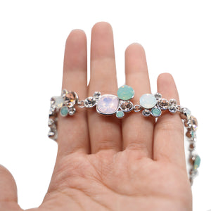 Pink and Blue Crystal Silver Bracelet - Catstone NYC