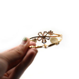 Crystal Flower Gold Plated Bracelet - Catstone NYC