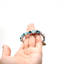 Load image into Gallery viewer, Blue Crystal Silver Bangle Bracelet - Catstone NYC