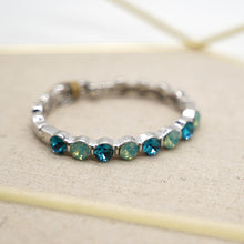 Load image into Gallery viewer, Blue Crystal Silver Bangle Bracelet